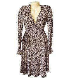 Diane Von Furstenberg Vintage DVF Silk Julie Wrap Dress Size US 4 Brown Beige #DianeVonFurstenberg #WrapDress #Cocktail