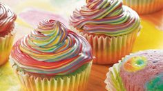 Planning a retro party? These colorful cupcakes, made conveniently with Betty Crocker® cake mix, would be far out!