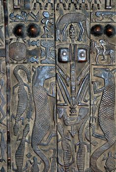 Africa | Detail from a large Dogon door from Mali | Photo by Mara Balint.