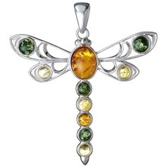 Sterling Silver and Baltic Amber Dragonfly Pendant sold by Holiday Gift Shops. Amber Earrings, Amber Bracelet, Pendant Earrings, Silver Pendant Necklace, Initial Necklace, Silver Necklaces, Sterling Silver Pendants, Silver Earrings, Bracelets