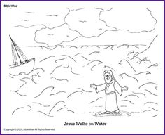 1000 images about bible workheets and coloring pages on for Jesus walks on water coloring pages