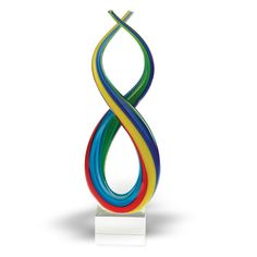 """Badash Art Glass Centerpiece Spectrum 14"""". European product. Handcrafted. Lead free. Murano style. High quality."""
