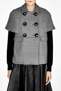Button Short Sleeve Cape Coat by Red Valentino