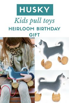 Organic heirloom wooden toys for baby activity. Siberian husky lover pull toy. Dog with wheels. Montessori kids birthday gift ideas. Waldorf wood animals for toddler. Available only for 48$ free shipping worldwide #woodentoys #toddlertoys #kidstoys #husky Toddler Gifts, Toddler Toys, Kids Toys, Dog Lover Gifts, Dog Lovers, Pull Along Toys, Wood Animal, Wooden Baby Toys, Real Dog