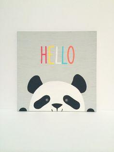 Hand Painted Hello Nursery Sign Modern Panda by SweetBananasArt