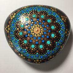 Hand Painted Mandala Stone, Mandala Meditation Stone, Dot Art Stone, Healing Stone, # 321 by MafaStones on Etsy