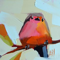 Robin no. 165 original bird oil painting by Angela Moutlon prattcreekart