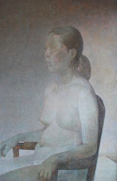 Woman sitting Oil and tempera on wood 116 x 72 cm by Kota Sasai
