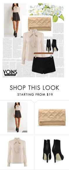 """""""Bow High-neck Blouse - YOINS"""" by albinnaflower ❤ liked on Polyvore featuring yoins"""