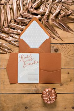 gold wedding invitation #bronzewedding #fallwedding #weddingchicks http://www.weddingchicks.com/2013/12/31/bright-bronze-wedding-inspiration/