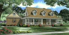Southern Style House Plans - 2674 Square Foot Home , 1 Story, 4 Bedroom and 2 Bath, 2 Garage Stalls by Monster House Plans - Plan 91-133