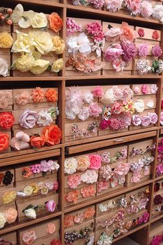 The Tinsel Trading Company in New York has the most gorgeous millinery flower wall of supplies! Millinery Flower Wall by such pretty things - A storefront in Paris Vintage Millinery at Tinsel Trading I've been there and purchased some of these lovelies! Cloth Flowers, Diy Flowers, Fabric Flowers, Paper Flowers, Pretty Flowers, Silk Ribbon Embroidery, Ribbon Work, Flower Tutorial, Handmade Flowers