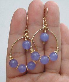 Gorgeous Smooth Lavender Jade Gold Hoop Earrings A1210