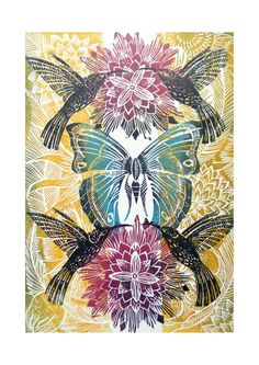 Hummingbird and Butterfly Original Lino Cut Print by Amanda Colville, Mangleprints