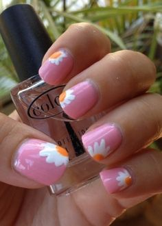 Pink nails with free hand white & yellow daisy flower tips, easy free hand nail art