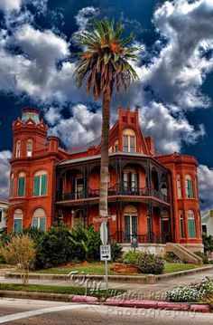 Landes-McDonough House   Galveston, Texas   Confederate veteran and capitalist Henry A. Landes (1844-1919) had this house built in 1887-88.   Designed by prominent architects George E. Dickey of Houston and D.A. Heimich, the house reportedly provided refuge to some 200 people during the disastrous 1900 hurricane.     The eclectic Victorian structure features Romanesque style accents in it's fin ornamental terra cotta, brick and ironwork, and it's exuberant parapet and towers.