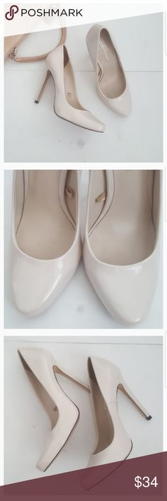 """Zara Light Cream Patent Pumps Faux patent leather pumps.  Size: label says 38. I bought them as 8 but they are too small for me and i am 8. I would say they are more like 7.  Since they did not fit i am just re-poshing them. :)  Condition:Some light scuffing and signs of wear throughout- most notably on front in-step.  Heel is just a touch over 4"""". Offers are welcome. Zara Shoes Heels"""
