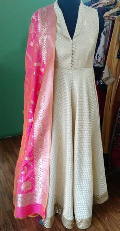 Beige Silk Anarkali with hand embroidered border with contrast Banarasi shocking pink dupatta Kurti Designs Party Wear, Kurta Designs, Blouse Designs, Indian Gowns Dresses, Indian Outfits, Indian Clothes, Pakistani Dresses, Indian Sarees, Long Dresses