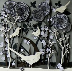 'Hedgerow Birds' papercraft illustration by Helen Musselwhite. Beautiful shapes and textures are present. Adore the almost desaturated colour palette - adds to the delicacy of the image.