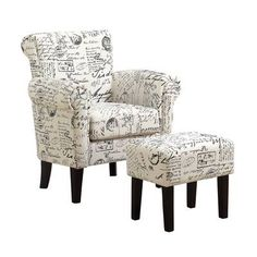 Simone Script Accent Chair For Bedroom Home Decorating