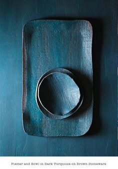 turquoise platter and bowl on brown stoneware from Elephant Ceramics - handmade ceramics by Michele Michael; photo by Philip Ficks http://philipficks.com/