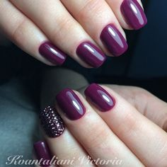 Autumn nails, Beautiful evening nails, Berry nails, Dark gel polish, Evening…
