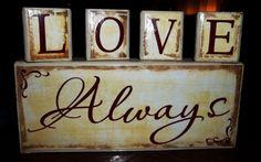 Love always wood diy home decor, blockexpress, block craft, hm idea, block express, wood blocks, wood ya, wood fun