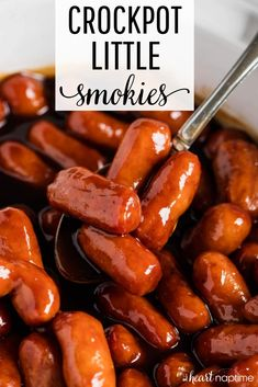 These Crockpot Little Smokies taste so rich and flavorful.your guests will never know they're made with just 4 simple ingredients! One of my favorite 'set it and forget it' appetizer recipes that is always a huge hit! Crockpot Little Smokies, Little Smokies Recipes, Best Lil Smokies Recipe, Little Weenies Recipe, Appetizers For Party, Appetizer Recipes, Meat Appetizers, Appetizers In Crockpot, Finger Foods