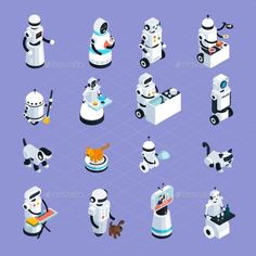 Home Robots Isometric Collection by macrovector Home robots collection helping and replacing people in different activities in isometric style isolated vector illustration. Edita