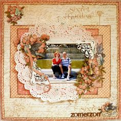 Secret Garden, Once Upon a Springtime, layout, Romy Veul, Graphic 45 Heritage Scrapbook Pages, Scrapbook Page Layouts, Scrapbook Albums, Scrapbook Cards, Scrapbooking Ideas, Scrapbook Cover, Vintage Scrapbook, Scrapbook Designs, Photo Layouts