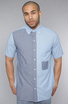 #karmaloop $88 Two-tone chambray short sleeve button down featuring a left chest pocket with a mini pocket beneath; logo tag on the left side seam; 100% cotton.  By Amongst Friends