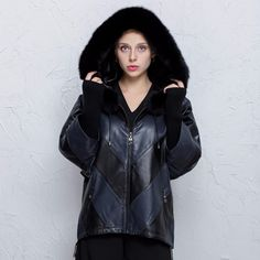 Factory direct supplier women jacket 100% real Leather sheep coat stitching loose large size bat shirt Hooded Fall fox fur colla