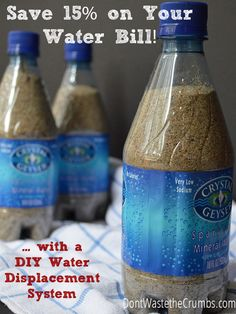 Reduce Your Water Bill with a DIY Water Displacement System | One simple tip - that can be done for free - that will save up to 15% off your water bill and free up funds for healthier food!!  :: DontWastetheCrumbs.com