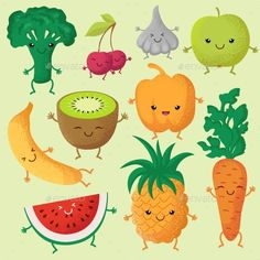 Happy Cartoon Fruits and Garden Vegetables by MicrovOne Happy cartoon fruits and garden vegetables with funny cute faces vector characters. Fruits smile face, illustration of character v