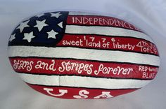 4th of July hand painted stone 11 lbs. SNS DESIGNS