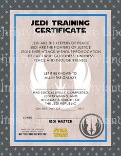 Free Printables  Star Wars Jedi Certificate Party Ideas Party
