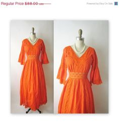 SALE 60's Mexican Wedding Dress // Vintage 1960's 70's Mexican Pintucked Orange Cotton Lace Maxi Wedding Dress S. $70.40, via Etsy.