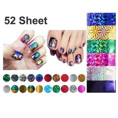52 Pcs Mix Color Transfer Foil Nails Art Start Design Sticker Decal For Polish Care DIY Free Shipping [Affiliate]