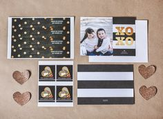 This black, white and gold Valentine's Day suite is perfect for a card exchange.