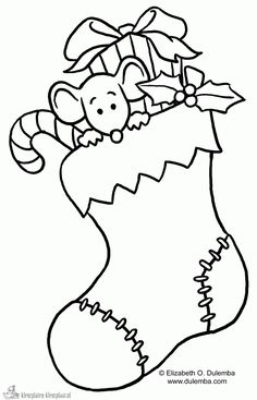 christmas stocking coloring page pattern