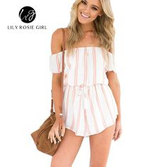 fbbc572837 Lily Rosie Girl Sexy Orange Striped Women Playsuits Off Shoulder Bow Summer  Beach Overall Rompers 2017 Elegant Short Jumpsuits-in Rompers from Women s  ...