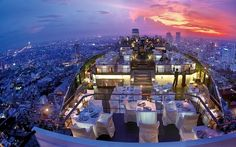 Vertigo, Bangkok, Thailand You're sitting: in open-air at the 61st floor rooftop At: Banyan Tree Looking at: the heart of the business district, river, and city skyline Eating: signature dishes like roasted snow fish, tenderloin, wagyu, or vertigo appetizer plate