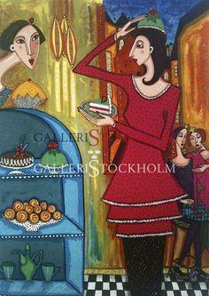 Angelica Wiik - Litografi - Tårtdax Köp direkt online på galleristockholm.se