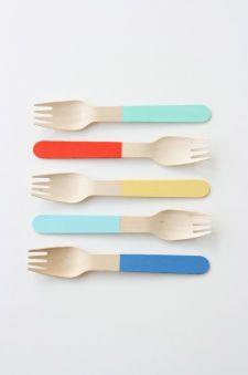 Color Block Wooden Forks
