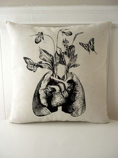 Human lung heart growing wild flowers and orchids butterflies silk screened pillow 18 inch BLACK