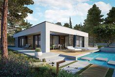 EX 21 soft - projekt domu - Archipelag House Layout Plans, House Layouts, House With Porch, My House, Modern Small House Design, Casa Loft, Beautiful House Plans, Mexico House, Bungalow House Design