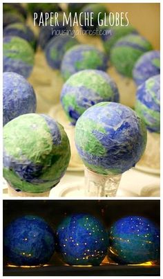 Earth Day Crafts for kids ~ Paper Mache Globes - April 24 Earth Day Activities for Kids Paper Mache Crafts For Kids, Paper Mache Projects, Fun Crafts, Earth Day Projects, Projects For Kids, Art Projects, Earth Craft, Earth Day Crafts, Earth Day Activities