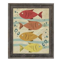 Click Wall Art One Fish, Four Fish Red Framed Graphic Art on Canvas Size: