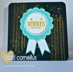 Here is the card I sent all the Stampin Up UK winners from the Craft 4 Crafters show.  I used the Stampin Up Blue Ribbon and Gorgeous Grunge Stamp Sets - by Independent Stampin Up Demonstrator Traci Cornelius www.getcreativewithtraci.co.uk