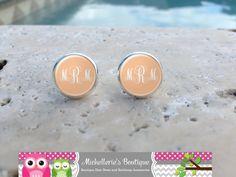 Peach Monogram Earrings Monogram Jewelry by MichelleriesBoutique, $8.00